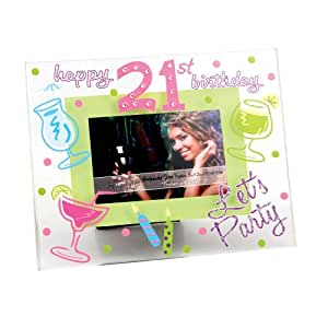 "Top Shelf 21st Birthday 3"" x 2"" Glass Frame"