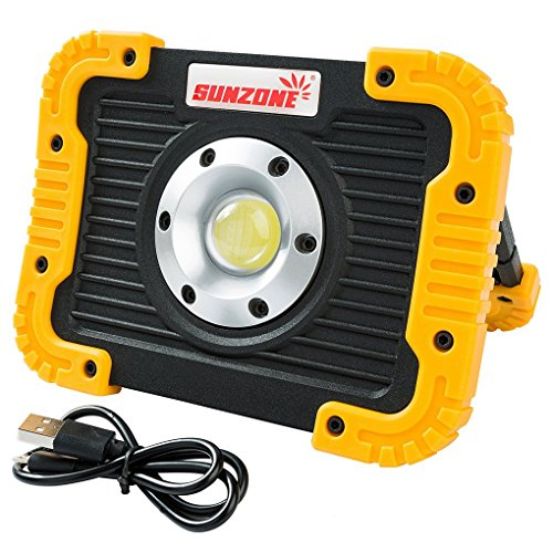 SUNZONE 10W COB LED Work FloodLights 750 Lumens Outdoor Camping Fishing Spotlights Searchlight Built-in Rechargeable Lithium Batteries Light Lamp With USB Ports (Yellow color)