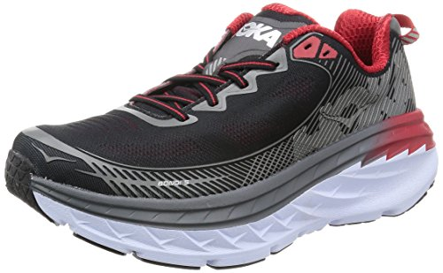 HOKA ONE ONE Mens Bondi 5 Grey/Black/Formula One Running Shoe - 8 M
