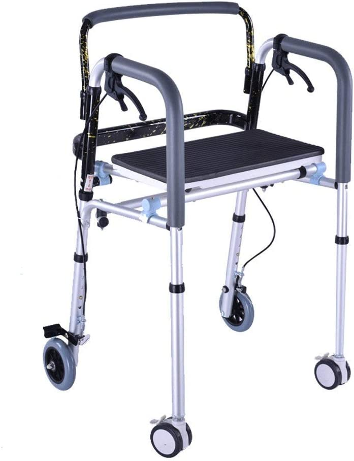 Andador, Andador para discapacitados, Andador, Equipo de rehabilitación Andador Plegable Ligero para Ancianos, Aleación de Aluminio Plegable Ajustable en Altura con polea de Freno Ba&nti