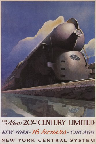 THE NEW 20th CENTURY LIMITED vintage train poster LESLIE RAG