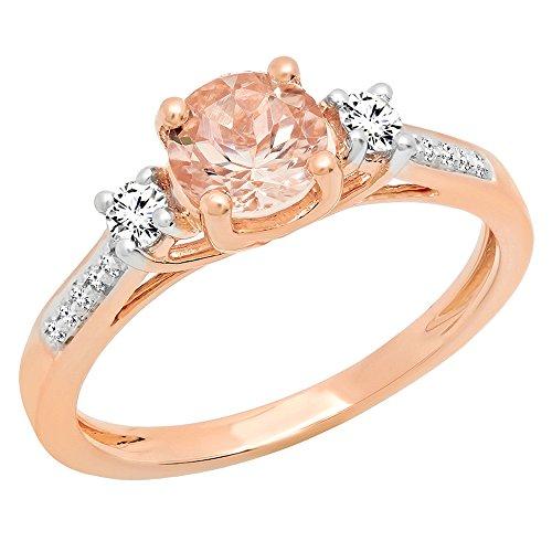 - Dazzlingrock Collection 18K 5 MM Round Morganite, White Sapphire & Diamond Ladies Engagement Ring, Rose Gold, Size 7