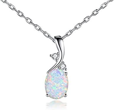 925 Sterling Silver Opal Pendant Chain Necklace Woman/'s Retro Fashion Jewelry