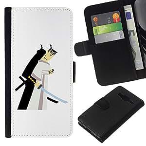 All Phone Most Case / Oferta Especial Cáscara Funda de cuero Monedero Cubierta de proteccion Caso / Wallet Case for Samsung Galaxy Core Prime // samurai espadachín japonés blanco