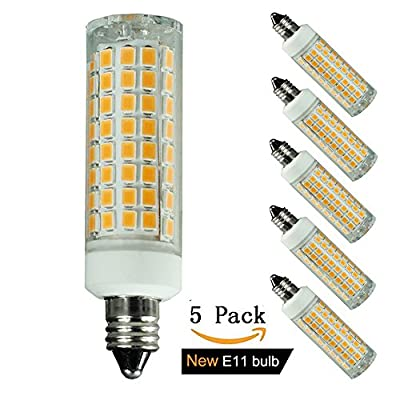 [5-pack] E11 led bulb,100W 75W 60W 50W 40W 35W Equivalent Halogen/Xenon Replacement Lights, Mini Candelabra Base, Replaces T4/T3 JD Type clear e11 light bulb