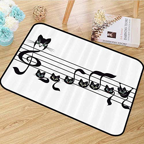 Music Decor Collection Non Slip Rugs Notes Kittens Cat Artwork Notation Tune Children Halloween Style Pattern Anti-Static W55 x L78 Black Green Blue]()