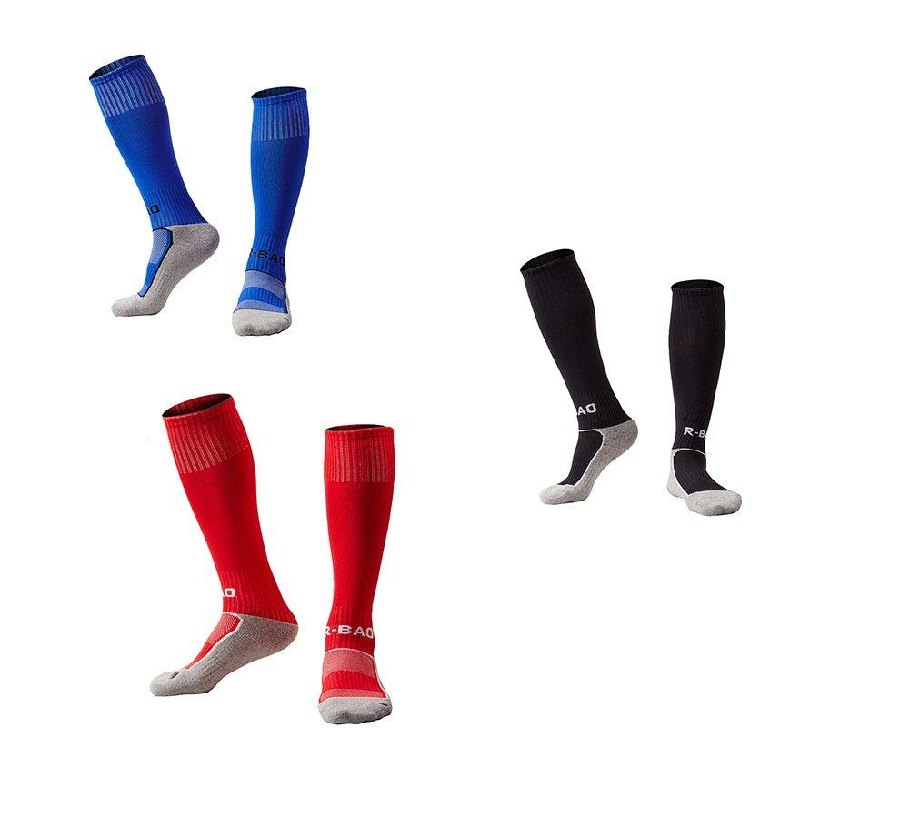 OUAYJI kids Knee High Sport Towel Bottom training compression Soccer Football Socks 3 pairs black&red&blue by OUYAJI