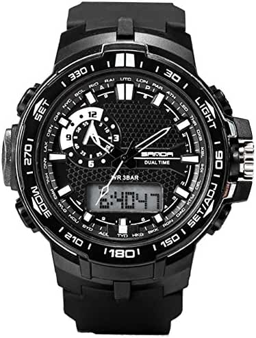 Large Dual Dial Analog Digital Quartz Electronic Wrist Watches For boys watch 10 years Black