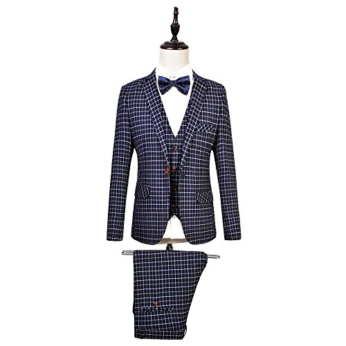 WEEN CHARM Mens 3-Piece Suit Slim Fit Plaid One Button Casual Wedding Blazer Jacket Tux Vest Pants Set by WEEN CHARM