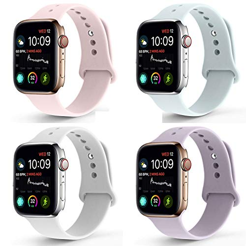 (RUOQINI Compatible with Apple Watch Band 38mm 40mm,Sport Silicone Soft Replacement Band Compatible for Apple Watch Series 4/3/2/1 [M/L Size - PinkSand/Turquoise/SoftWhite/Lavender])