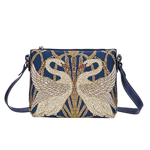 Signare Tapestry Walter Crane Swan, Rush and Iris Crossbody Shoulder Fashion Bag Purse (XB02-ART-WC-SWAN), -
