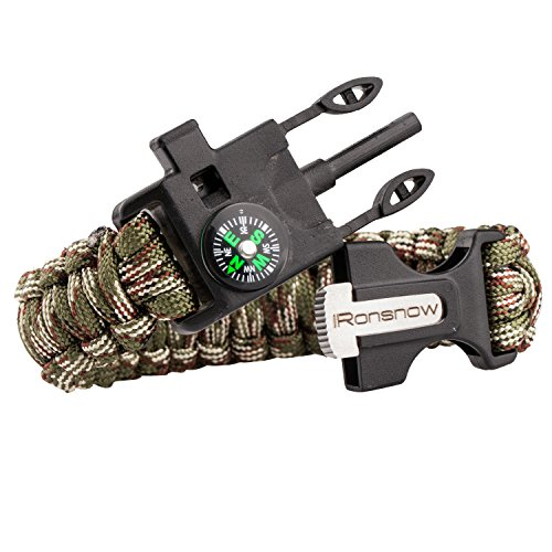 iRonsnow-Emergency-Paracord-Bracelets-Survival-Gear-Flint-Fire-Starter-Whistle-Compass-ScraperKnifeW-Wilderness-Survival-Kit-For-CampingHikingBoatingSailing-GreenCamouflage