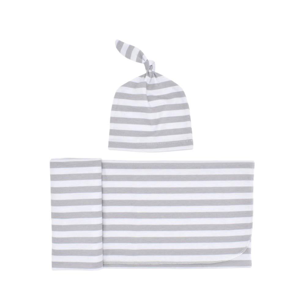 Xigeapg Manta de Beb/é Swaddle de Punto con Juego de Sombreros Mantas de Recepci/óN Rayas Azules Regalo Perfecto de Baby Shower para Ni?Os Ni?As Envoltura de Swaddle para Reci/éN Nacidos