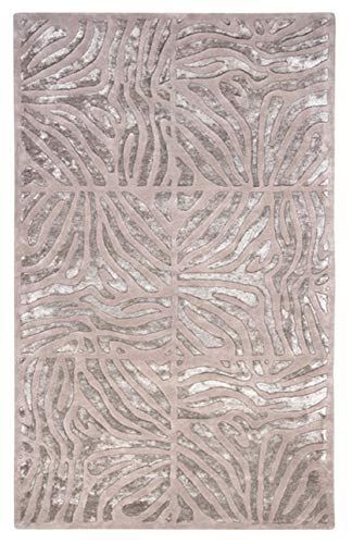 - CC Home Furnishings 5' x 8' Burchelli Zebra Chain Taupe Wool Area Throw Rug