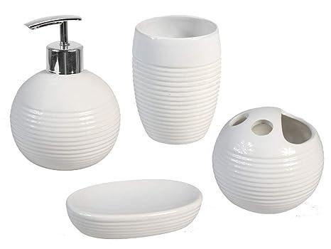Vetrineinrete® Set 4 Pezzi Accessori per Bagno Ceramica Moderno con  Dispenser Sapone Bicchiere portaspazzolino portasapone Moderno con Inserti  ...
