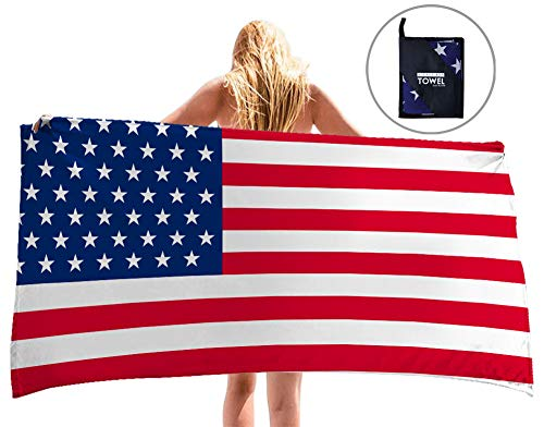 "uideazone Microfiber USA Flag Beach Towel, Quick Dry Beach Blanket - 60"" x 30"", Absorbent, Compact, Sand Proof, Best Lightweight Towel for The Swimming, Sports, Travel, Beach with Zipper Bag"