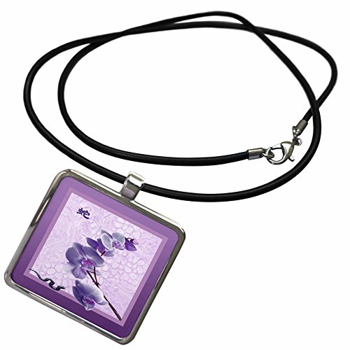 3dRose Beverly Turner Chinese New Year Design - Orchid with Snake, Sign of the Snake, Purple - Necklace With Rectangle Pendant (ncl_98837_1) (Year Of The Snake Pendant)