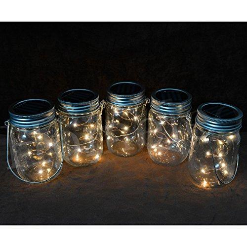 Homeleo 3 Pack Solar Mason Jar Lid Insert, Warm White LED Fairy Mason Jar Lantern for Patio Garden Porch Decoration(Jars Hangers NOT Included)