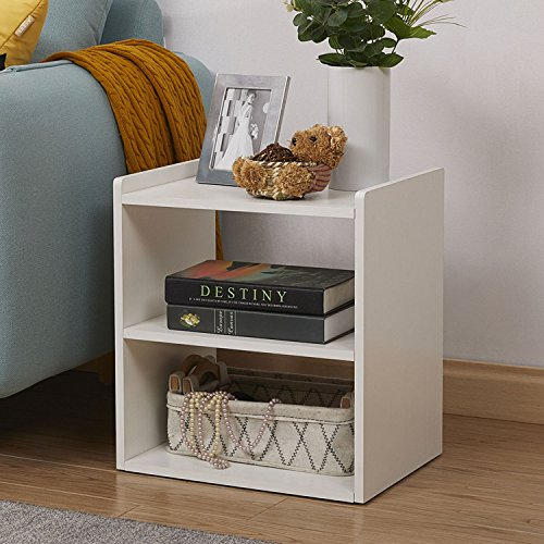 GreenForest Bedside Table 3-Tier Wood Organizer Storage Shelf for Bedroom Nightstand End Side Coffee Table, White by GreenForest