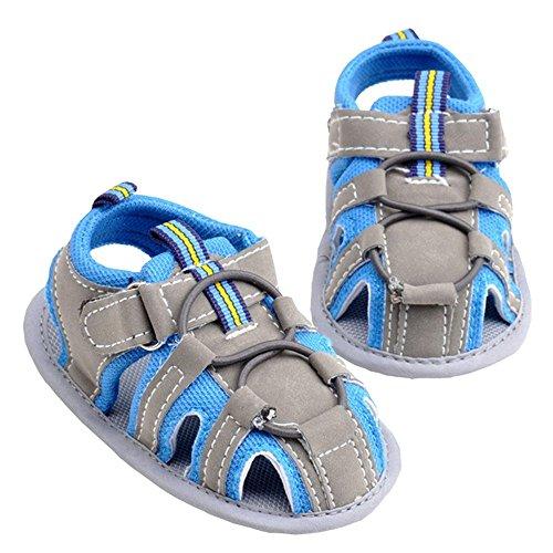 LINKEY Infant Baby Non-slip Velcro Walking Sandals Prewalker Soft Sole Toddler Shoes Blue