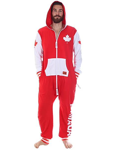 add1bec021ec Tipsy Elves Red and White Canada Jumpsuit Onesie (X-Large)  Amazon ...