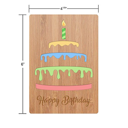 Happy Birthday Card Real Bamboo Wood Greeting With