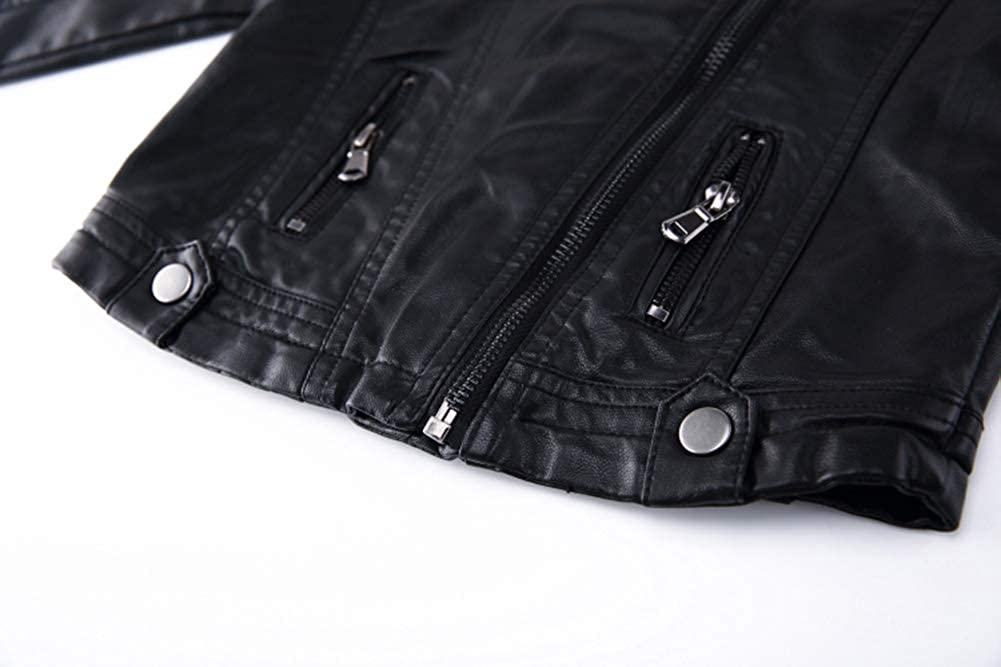Spring/&Gege Boys Classic Stand Collar Faux Leather Jacket