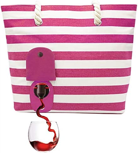 PortoVino Beach Tote Pink WhiteBeach Bag With Hidden Insulated Compartment Holds 2 Bottles Of Wine