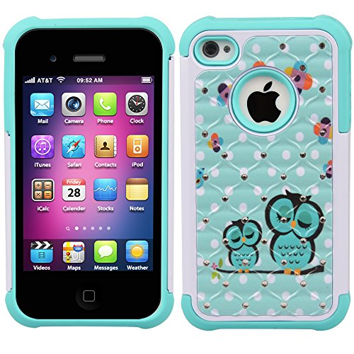 iPhone 4s Case, iPhone 4 Case, 4s Case, MagicSky [Shock Absorption] Studded Rhinestone Bling Hybrid Dual Layer Armor Defender Protective Case Cover For Apple iPhone 4/4S - Owl (Jeweled Iphone 4 Case)