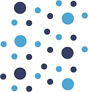 Set of 30 - Navy Blue / Ice Blue Circles Polka Dots Vinyl Wall Graphic Decals Stickers