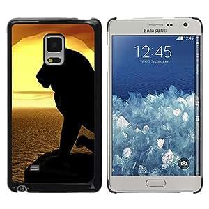 TECHCASE**Cubierta de la caja de protección la piel dura para el ** Samsung Galaxy Mega 5.8 9150 9152 ** Lion Silhouette Sunset Sea Ocean Summer