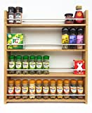 SilverAppleWood Wooden Spice Rack - 44 Jar Capacity, Deep Shelves For Larger Jars And Bottles, 4 Tier, Solid Oak