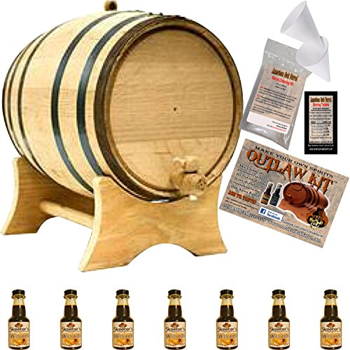 Spiced Rum Essence - Outlaw Kit From American Oak Barrel - Make Your Own Spiced Rum (Natural Oak With Black Hoops, 5 Liter)
