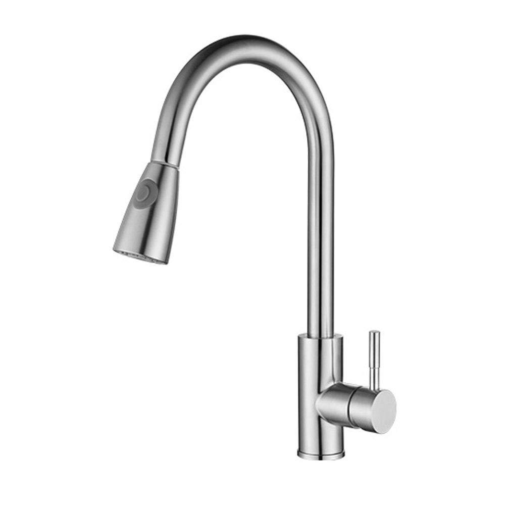 304 Edelstahl Küchenarmatur Ausziehbare Heiße Und Kalte Wasserhahn Waschbecken Rotierenden Bleifreien Wasserhahn
