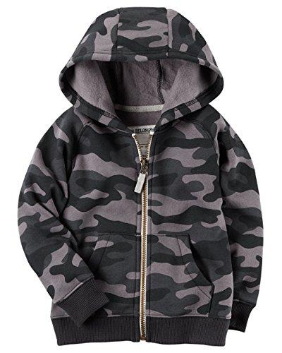 Childrens Camo Fleece Sweatshirt (Carters Boys Classic Fleece Zip-Up Hoodie with Pockets (2T, Black Camo))