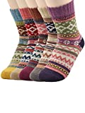 Century Star Women's Multi Vintage Winter Soft Wool Warm Comfort Crew Socks 5 Pairs Diamond2