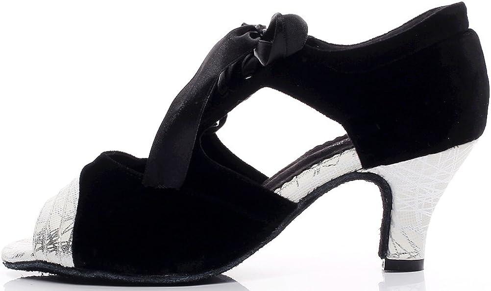 Abby Womens Latin Salsa Tango Cha-Cha Party Mid Heel Peep-Toe Down Dance-Shoes