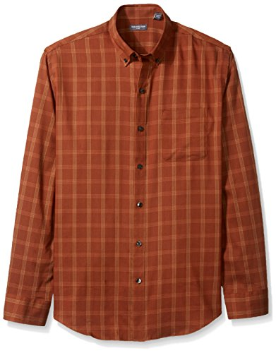 Van Heusen Men's Flex Long Sleeve Stretch Shirt, Orange Grappa, Large