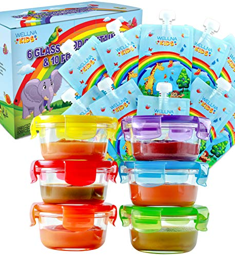 Glass Baby Food Storage Containers with Airtight Lids & Reusable Food Pouches [6+10 Pack] – BPA Free, Microwave, Freezer, Dishwasher Safe, Perfect to Store Homemade Baby Food, Snacks