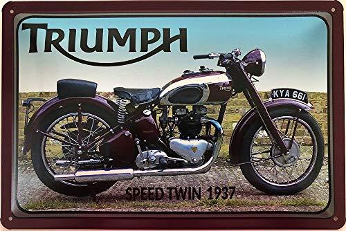 Deko7 Blechschild 30 x 20 cm Triumph Speed Twin 1937
