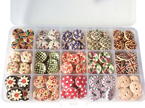 Free Sewing Patterns Shirts - longshine-us 225pcs 15mm 15 Patterns 2 Hole Mixed buttons wooden flowers Round Sewing Craft Type Wood Floral Buttons Accessories Sewing with Free Plastic Box for DIY Handmade Craft