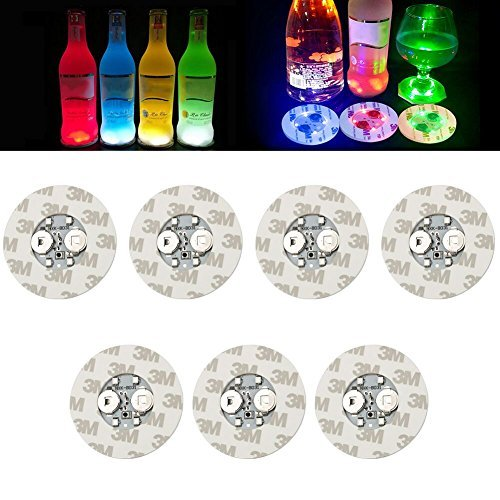 - Bottle Lights,LED Bar Coasters,Bottle Glorifier,Sticker Coaster Discs Lights for Wine Bottle Clear Glass Cup Vase Color Changing Lights - Cup,Party,Wedding,Bar,Party Decoration 7 PCS