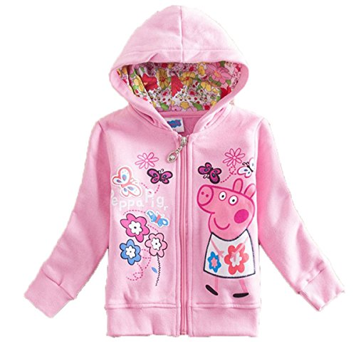 Janeyer Newly Girls'Long-Sleeve Pig Print Pullover Hooded Cotton Jacket Zip Coat Pink 110cm/ fit 3-4 years old price tips cheap