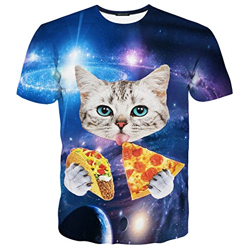 EOWJEED Unisex 3D Lovely Cat Printed Short Sleeve T Shirts - ()
