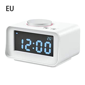 gaeruite Reloj LCD Digital de Pantalla Grande con Radio FM, Reloj Despertador de Escritorio con