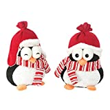 PENGUIN TWINS SET OF 2 STOCKING CAP/BOMBER HAT 10''