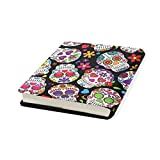 Skull Flower Stretchable Leather Book Covers Standard Size for Student Hardcover Textbooks Fits up to 9x11-Inch for School Girls Boys Gift