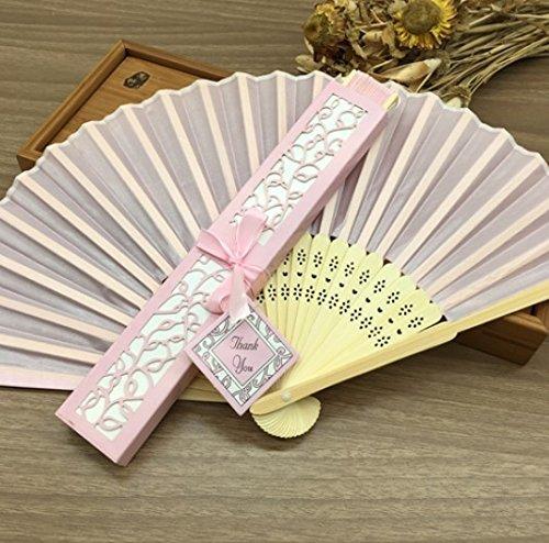 - Pink 10Pcs/Lot Personalized/Customized Printing Text 21Cm Bamboo Silk Hand Fan Pocket Fan Wedding Invitation
