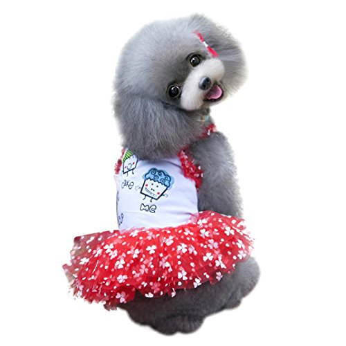 Binmer(TM)Doggy Pet Dog Clothes Party Summer Dress Brace Skirt Small Pet Cat Puppy Clothing (S, (Doggy Clothing)