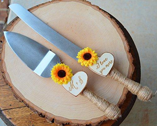 Sunflower Wedding Cake Knife Personalized Wedding Cake Cutter Fall Wedding Cake Cutting Set Mk Library